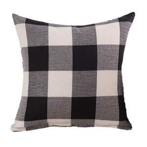 "18"" x 18"" Black And White Buffalo Check Pillow Cover"
