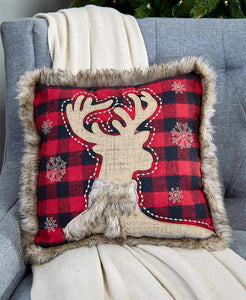 Buffalo Check Plaid Deer Pillow
