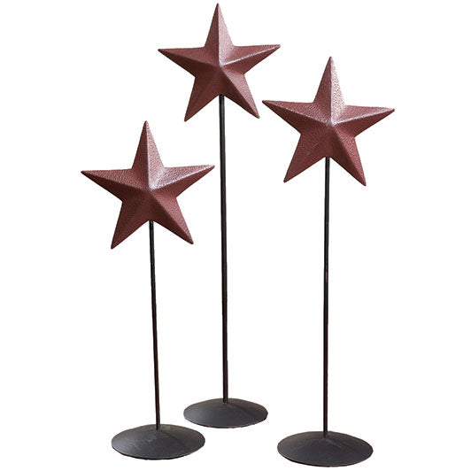Burgundy Barn Star Pedestal Set of 3