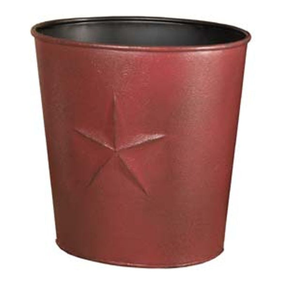 Burgundy Barn Star Metal Waste Basket