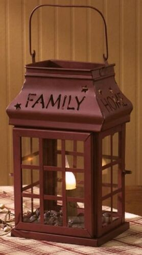 Love Home Family Friends Electric Iron Lantern Lamp ~ Burgundy