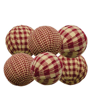 Burgundy Rag Balls - 6 Pc Set