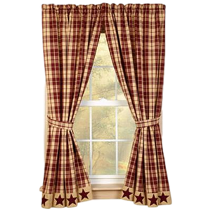 Burgundy Farmhouse Star Lined Curtain Panels
