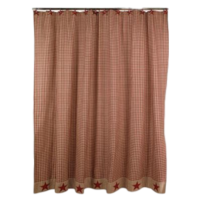 Burgundy Homespun Star Shower Curtain