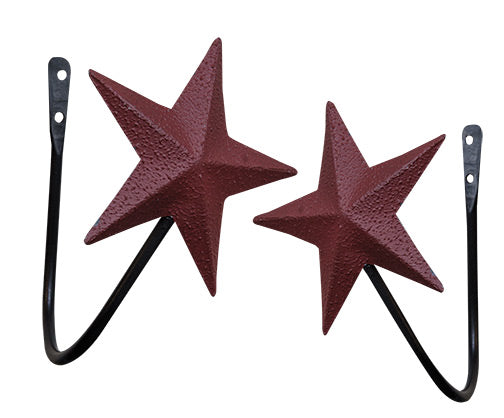 2 Piece Set Burgundy Star Curtain Tiebacks