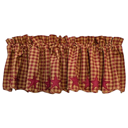 Burgundy Star Scalloped Valance