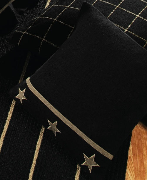 Black Burlap Star Throw Pillow Cover