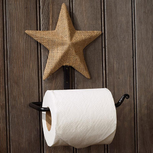 Burlap Star Toilet Paper Holder