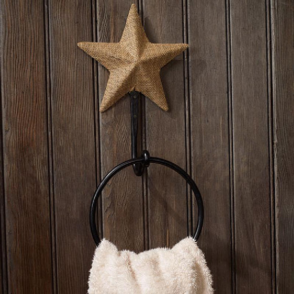 Burlap Star Towel Ring