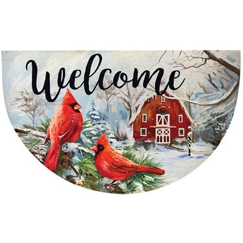Winter Cardinal Country Welcome Mat