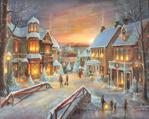 "Victorian Christmas Lit LED 16"" x 20"" Canvas"