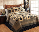 Colonial Star 3 Pc Queen Quilt Set ~ Black or Burgundy
