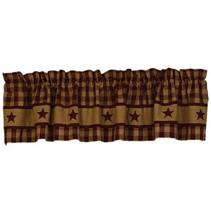 Cranberry Country Star Lined Valance