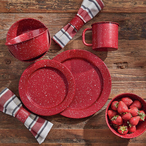 Red Granite Enamelware Dinner Plate