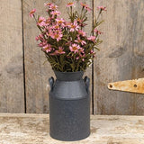 Gray Speckled Metal Milk Bucket