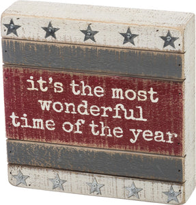 It's The Most Wonderful Time Of The Year Slat Farmhouse sign