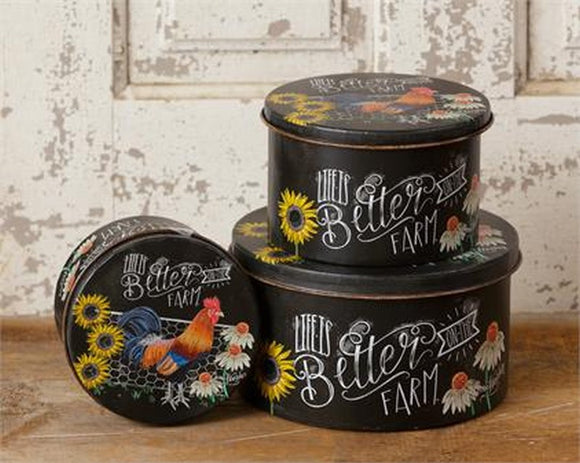 Life Is Better On The Farm Set Of 3 Canister Tins