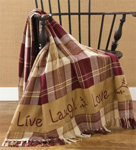Live Love Laugh Plaid Farmhouse Throw