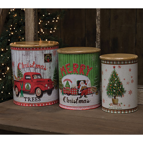 Merry Christmas Vintage Canisters Set of 3