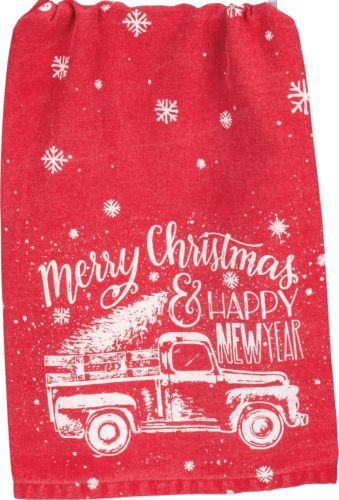 Vintage Truck Red Dish Towel from Primitives by Kathy