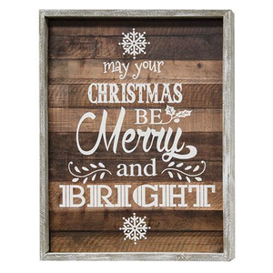 Merry And Bright Framed Farmhouse Sign