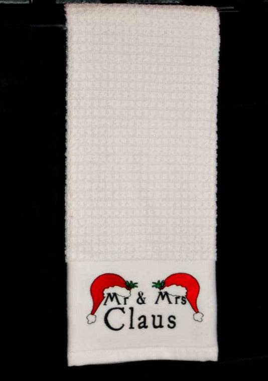 Mr & Mrs Claus Embroidered Tea Towel
