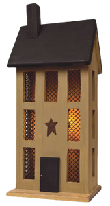 Tall Mustard Lighted House