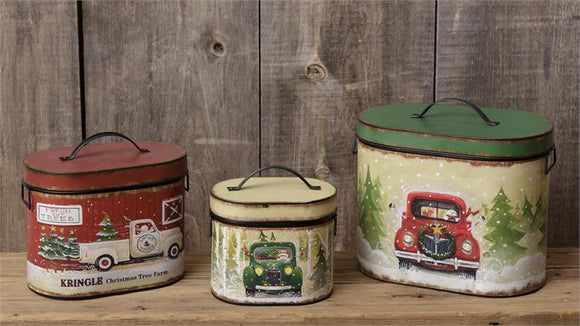 Kris Kringle Tree Farm Metal Nesting Tins - Set of 3