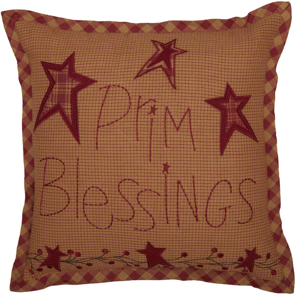 Ninepatch Star Prim Blessings Pillow