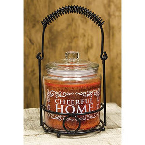 Cheerful Home Candle With Holder - Orange Cinnamon Clove