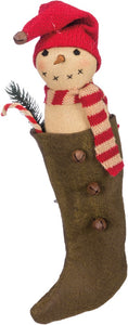"Hanging Snowman Stocking 9"" Tall"