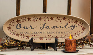 "Our Family Decorative 20.5"" Wooden Tray"