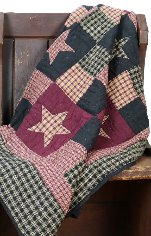 Plum Star Quilted Throw