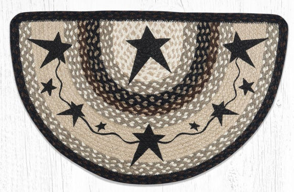 Primitive Black Star Half Slice Rug