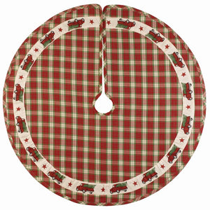 "Red Truck Plaid 36"" Tree Skirt"