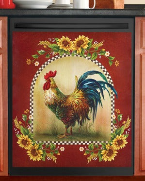 Rooster and Sunflower Dishwasher Magnet