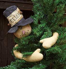 Believe Top Hat Snowman Tree Hugger