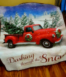 Vintage Truck Christmas Throw