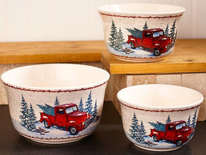 Set of 3 Vintage Red Truck Serving Bowls