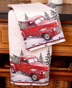 Vintage Red Antique Truck Christmas Towel