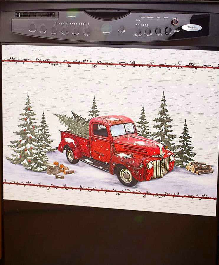 Vintage Red Truck Christmas Placemats.Vintage Red Truck Christmas Dishwasher Magnet