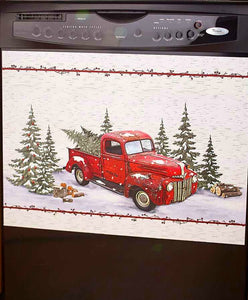 Vintage Red Truck Christmas Dishwasher Magnet