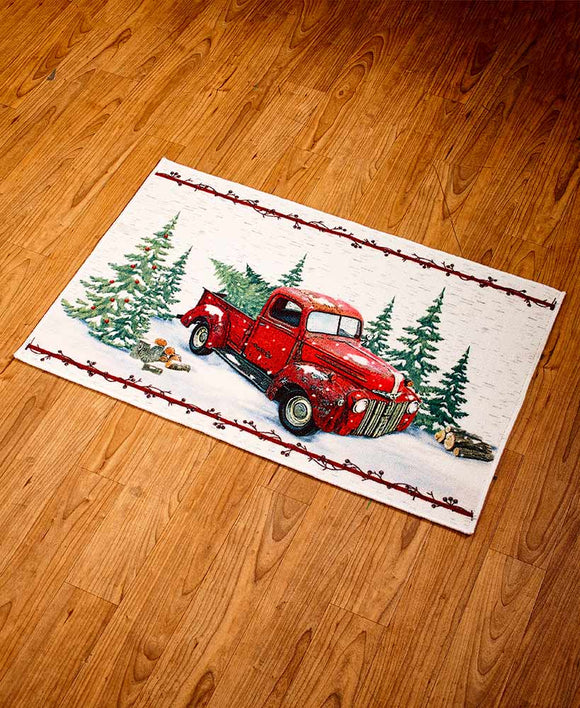 Vintage Red Antique Truck Christmas Rug