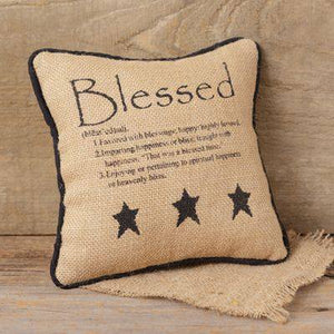 """Blessed"" Small Stitchery Pillow"