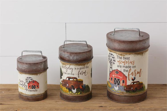 Farm Memories Canister Set With Vintage Truck and Barn