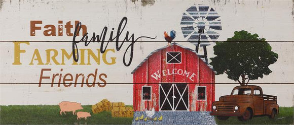 Farm Memories Wood Sign With Antique Truck