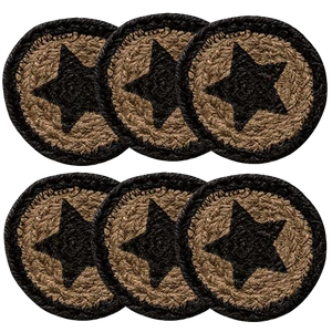 6/Set, Farmhouse Star Jute Coasters, 4""