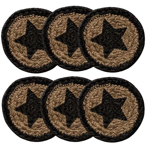 6/Set, Farmhouse Star Jute Coasters, 4