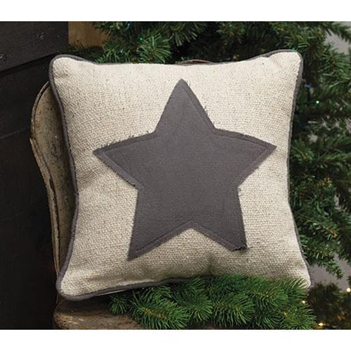 Farmhouse Star Burlap Pillow