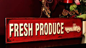"Vintage Truck Fresh Produce 24"" Metal Sign"